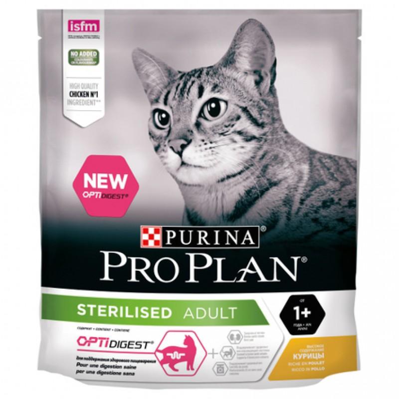 Pro Plan Sterilised OptiDigest Сухой корм для взрослых кастрированных кошек с чувствительным пищеварением (с курицей), 400 гр