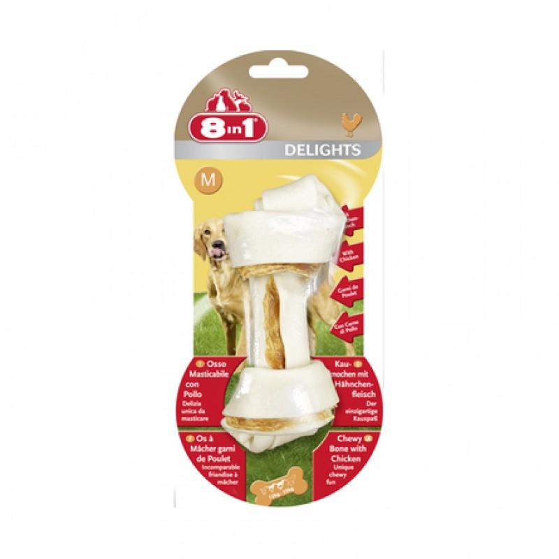 8in1 DELIGHTS M Косточка для взрослых собак средних пород (с курицей)