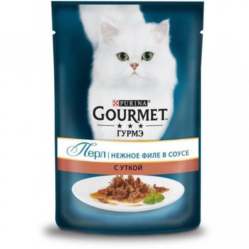 Gourmet Perle Кусочки мясного филе в соусе для взрослых кошек (с уткой), 85 гр