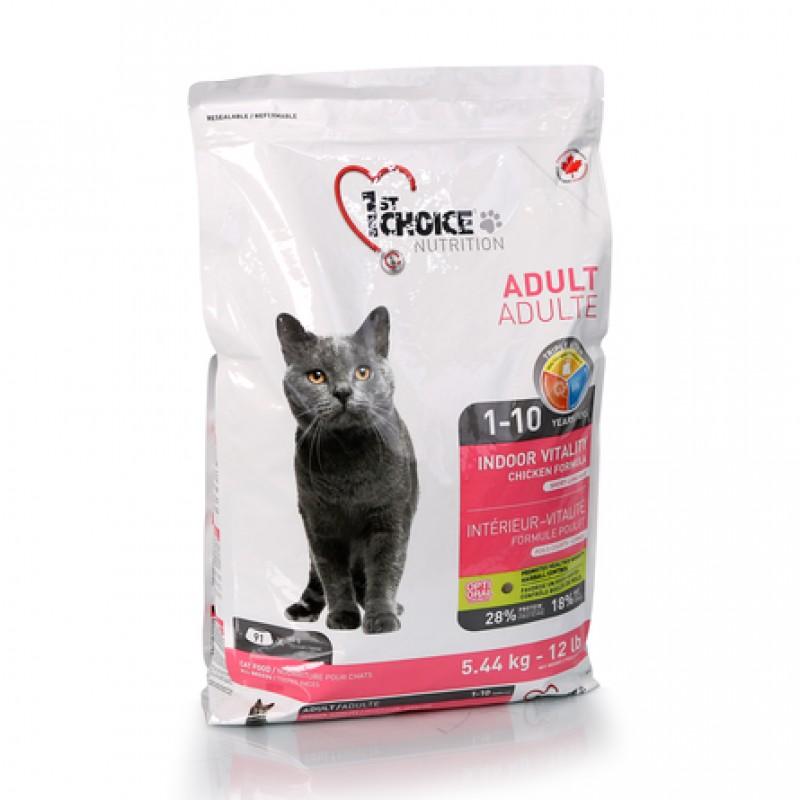 1st Choice Vitality Сухой корм для взрослых домашних кошек (с курицей), 5,44 кг