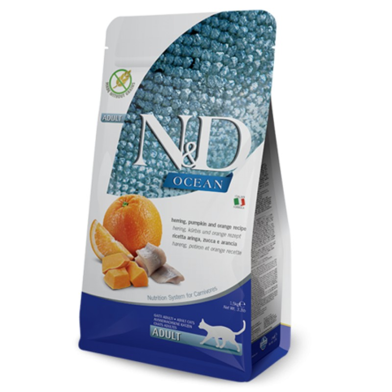 Farmina N&D OCEAN PUMPKIN сухой корм для кошек (сельдь с апельсином и тыквой), 1,5 кг