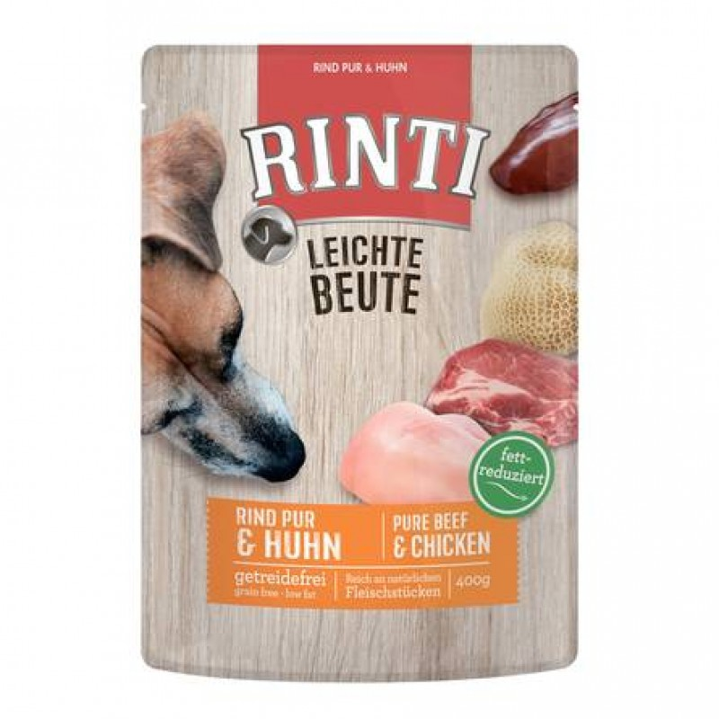 Rinti Leichte Beute пауч желе для собак (курица и говядина), 400 гр