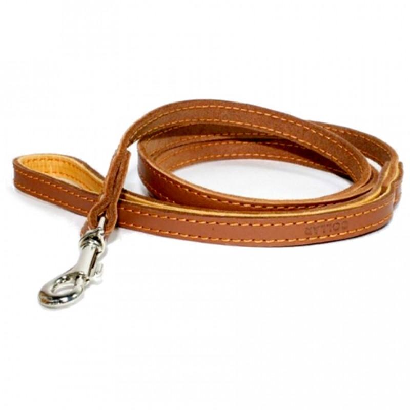 Collar Поводок одинарный с прошивкой коричневый (ширина 12 мм, длина 122 см)