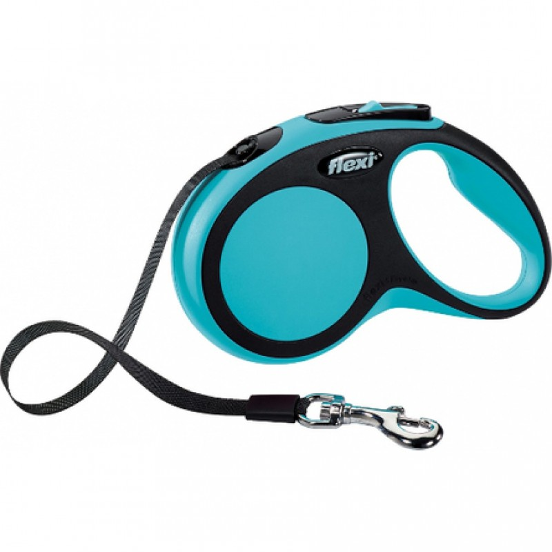 Flexi New Comfort Рулетка для собак до 60 кг, длина 5 м, ремень, синяя
