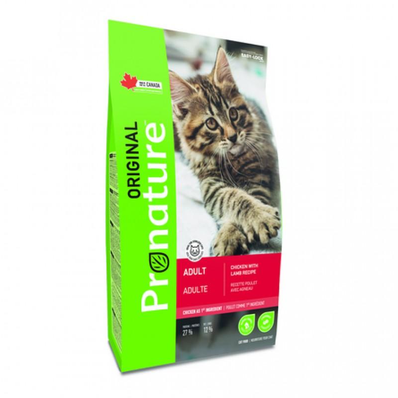 Pronature Original NEW Сухой корм для взрослых кошек (с курицей и ягнёнком), 2,27 кг