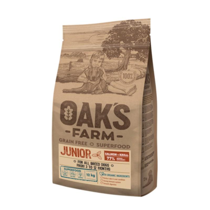 Oaks Farm Grain Free Junior All Breeds беззерновой сухой корм для щенков всех пород от 3 до 12 мес., (лосось и криль), 12 кг