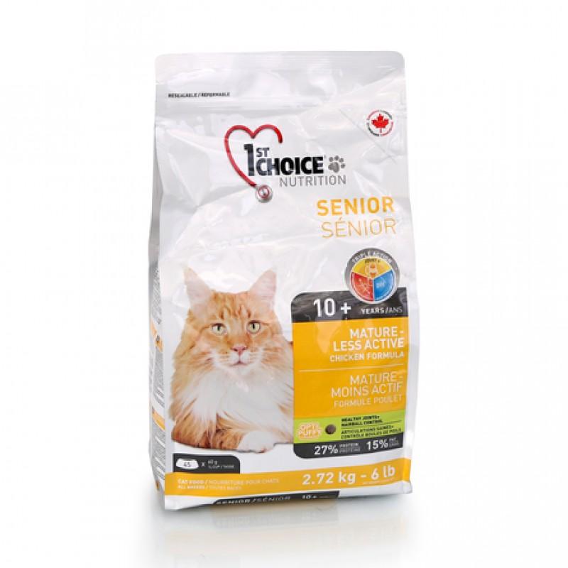 1st Choice Mature Or Less Active Облегченный сухой корм для пожилых и малоактивных кошек (с курицей), 2,72 кг