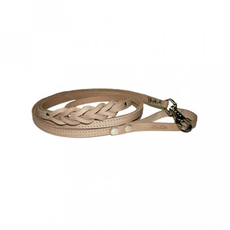 Аркон Поводок двухслойный для собак, ширина 1,2 см, длина 2,5 м, бежевый