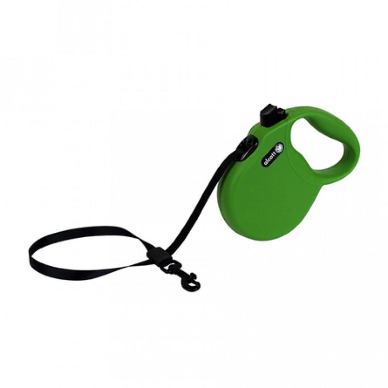 Alcott Wanderer S Поводок-рулетка для собак до 20 кг, лента, зеленая