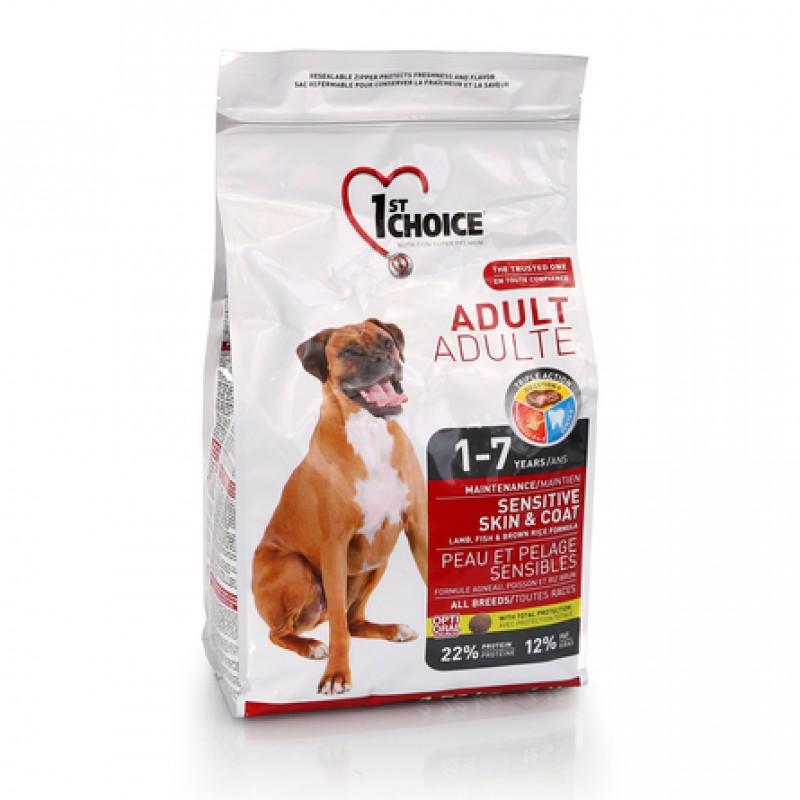 1st Choice Adult Sensitive Skin&Coat Сухой корм для взрослых собак всех пород с чувствительной кожей и шерстью (с ягнёнком, рыбой и рисом), 2,72 кг