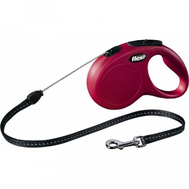 Flexi New Classic Рулетка для собак до 20 кг, длина 5 м, трос, красная
