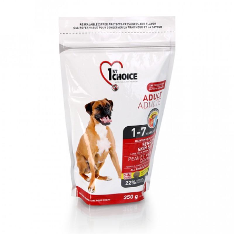 1st Choice Adult Sensitive Skin&Coat Сухой корм для взрослых собак всех пород с чувствительной кожей и шерстью (с ягнёнком, рыбой и рисом), 350 гр