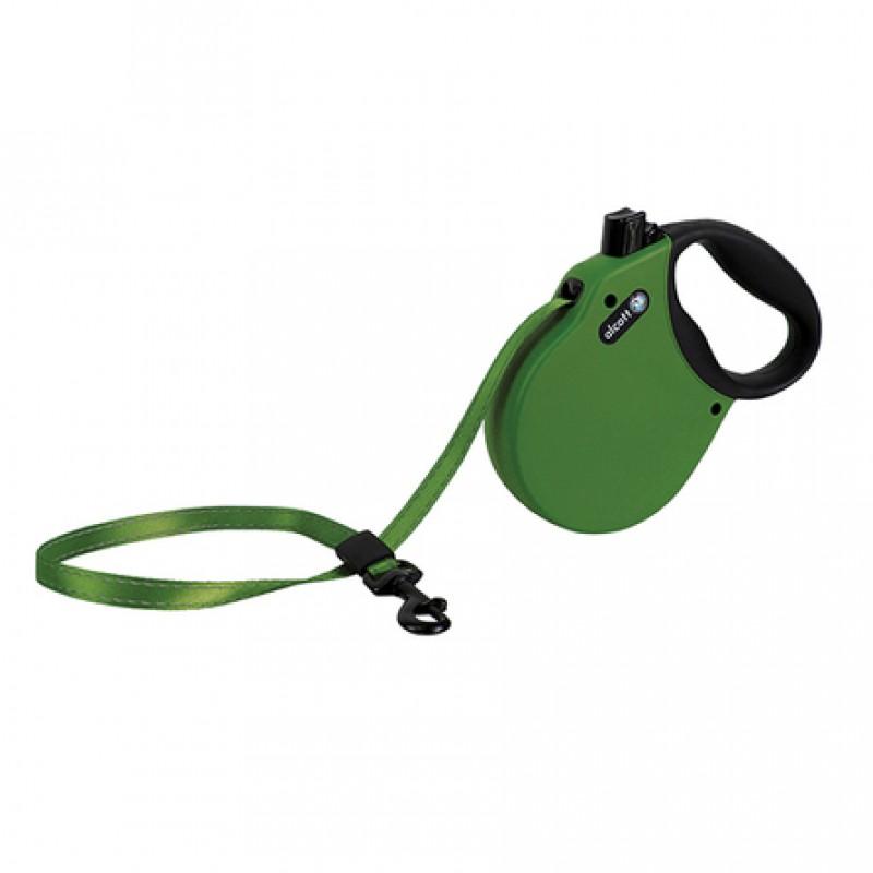 Alcott Adventure M Поводок-рулетка для собак до 30 кг, лента, зеленая