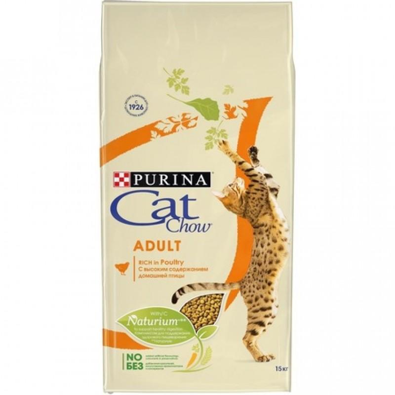 Cat Chow Adult Сухой корм для взрослых кошек (с высоким содержанием домашней птицы), 15 кг