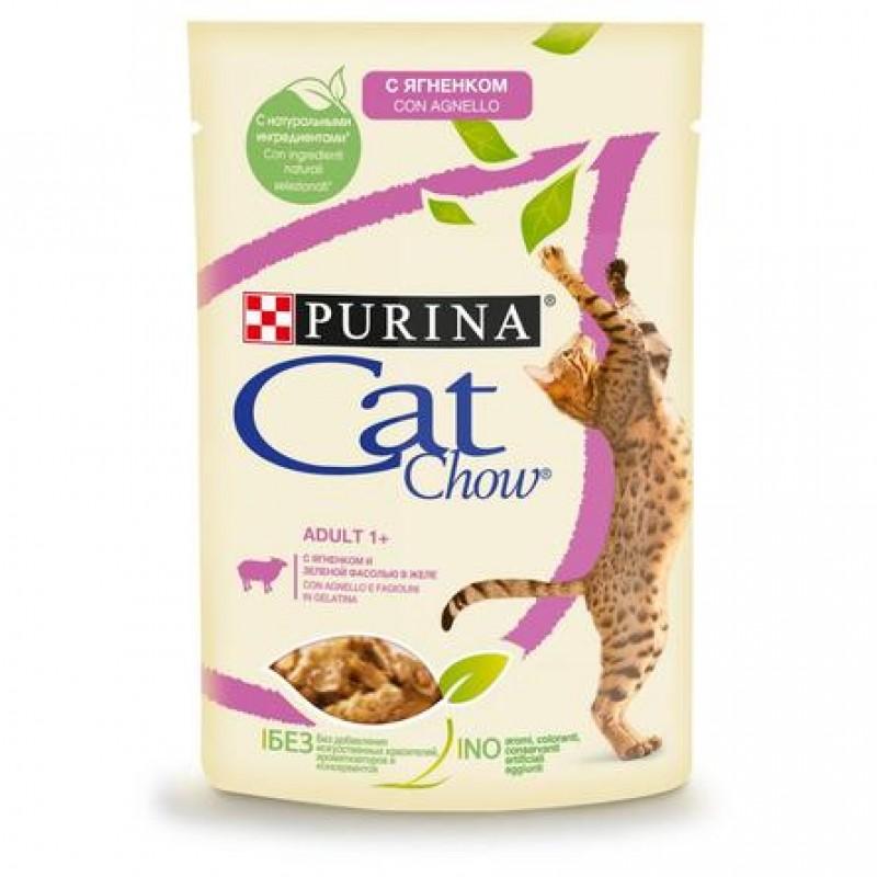 Cat Chow Кусочки паштета в желе для взрослых кошек (с ягненком и зеленой фасолью), 85 гр