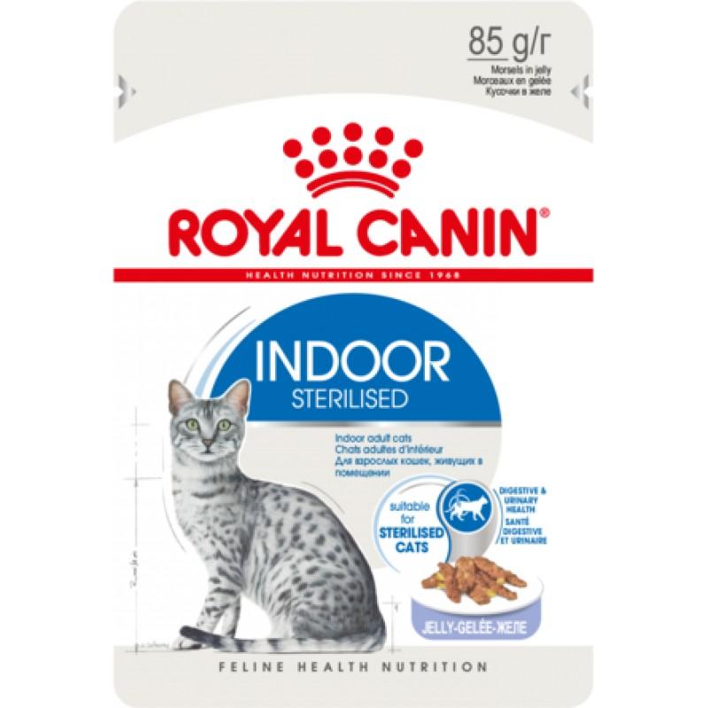 Royal Canin Indoor Sterilised кусочки паштета в желе для взрослых кошек, постоянно живущих в помещении, 85 гр