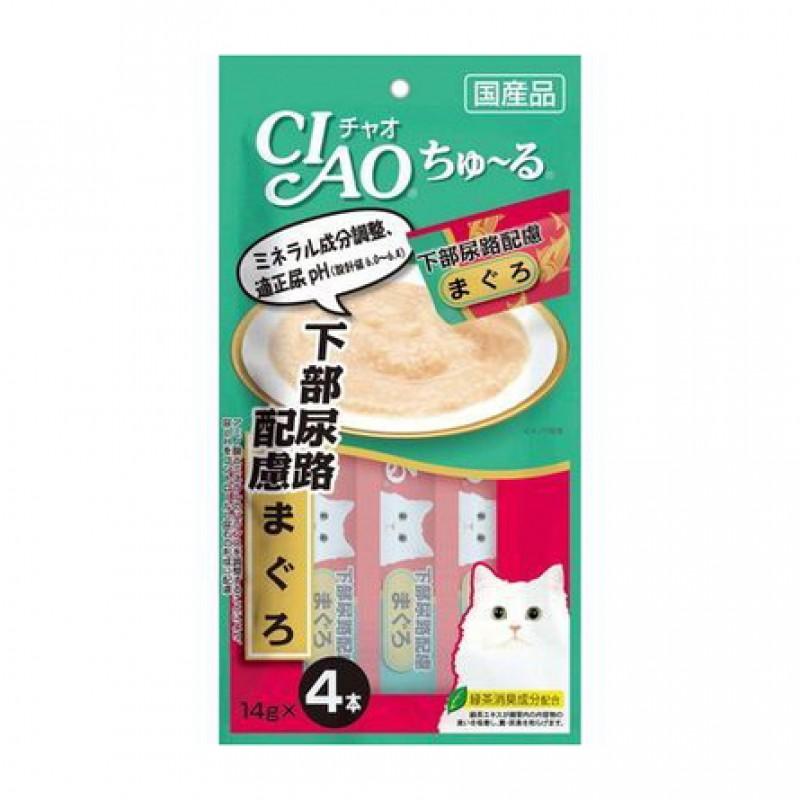 INABA CIAO Лакомство для взрослых кошек для профилактики  МКБ и цистита (желтоперый тунец), 56 гр
