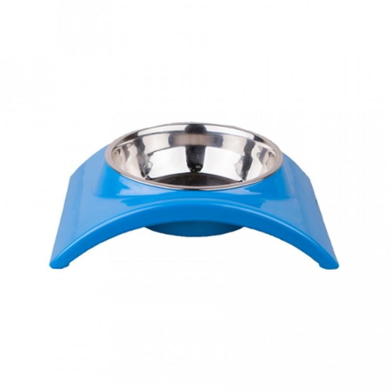 Dezzie Дуга Миска для собак на подставке, голубая, металл
