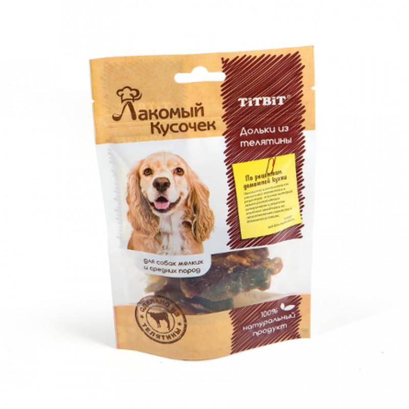 TITBIT Лакомый Кусочек Дольки для взрослых собак мелких и средних пород (из телятины), 60 гр