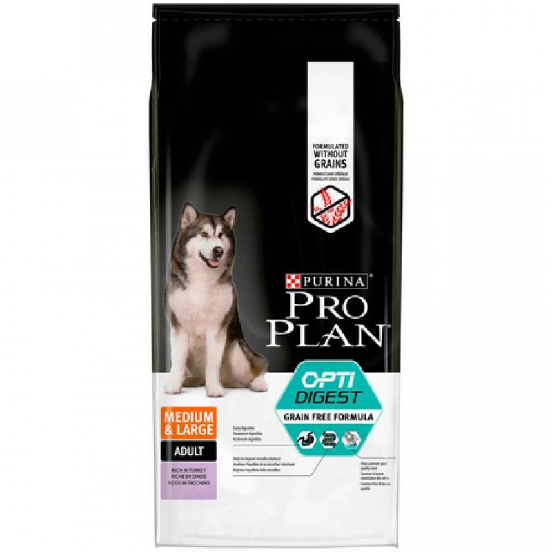 Pro Plan Optidigest Grain Free Formula Сухой корм для взрослых собак средних и крупных пород с чувствительным пищеварением (с индейкой), 12 кг