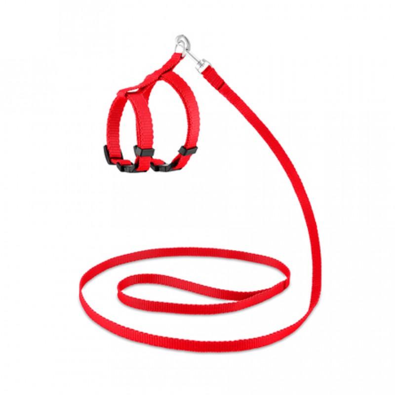Saival Classic Колор Комплект повод + шлейка для кошек XXS  (красный)