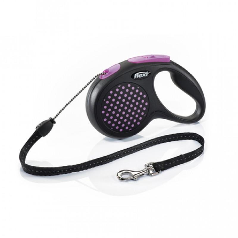 Flexi Design M Поводок-рулетка для собак, розовая, трос