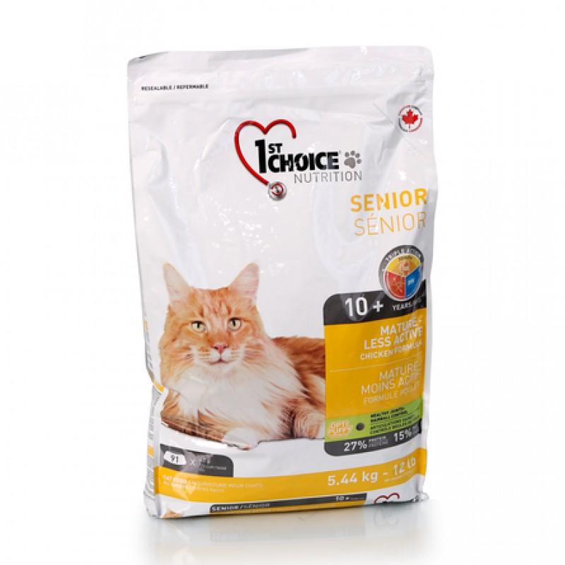 1st Choice Mature Or Less Active Облегченный сухой корм для пожилых и малоактивных кошек (с курицей), 5,44 кг