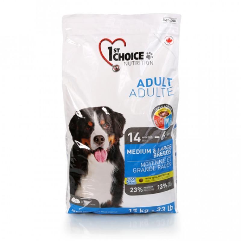 1st Choice Adult Medium&Large Breeds Сухой корм для взрослых собак средних и крупных пород (с курицей), 15 кг