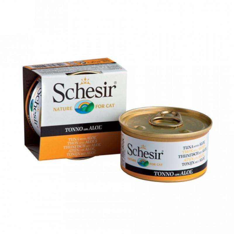 Schesir Кусочки филе в натуральном мягком желе для взрослых кошек (с тунцом и алоэ), 85 гр
