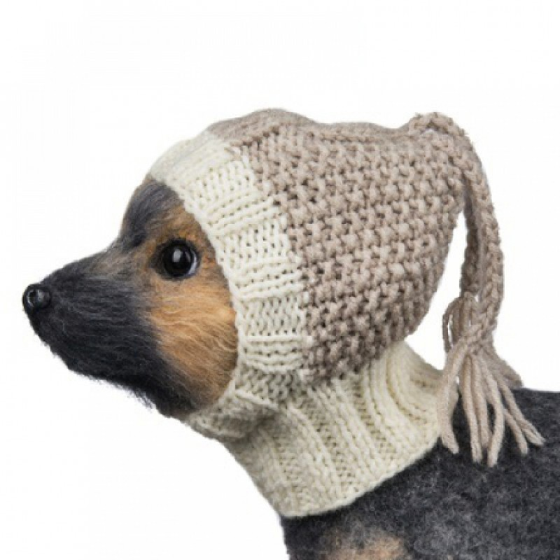 DogModa Шапочка для собак от 1,5 до 2,5 кг, бежевая, вязанная