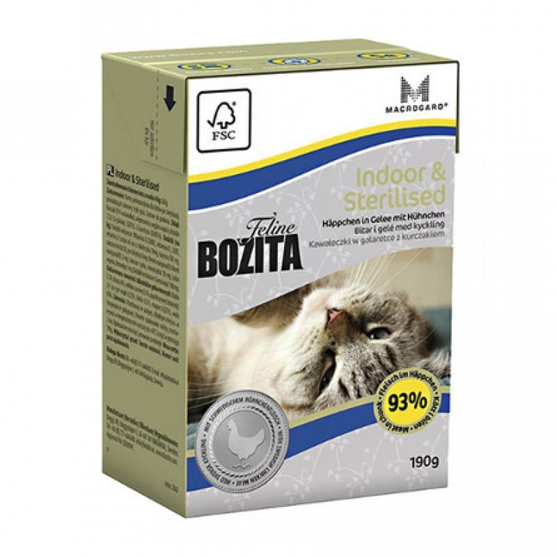 Bozita Feline Funktion Indoor And Sterilised Кусочки паштета в соусе для взрослых кошек (с курицей), 190 гр