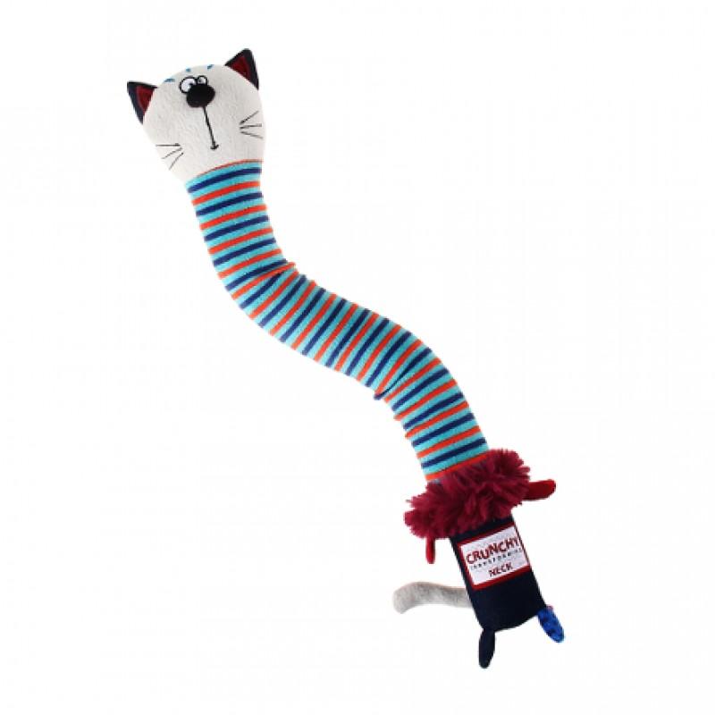 GiGwi Crunchy Neck Игрушка для собак Кот с пищалкой