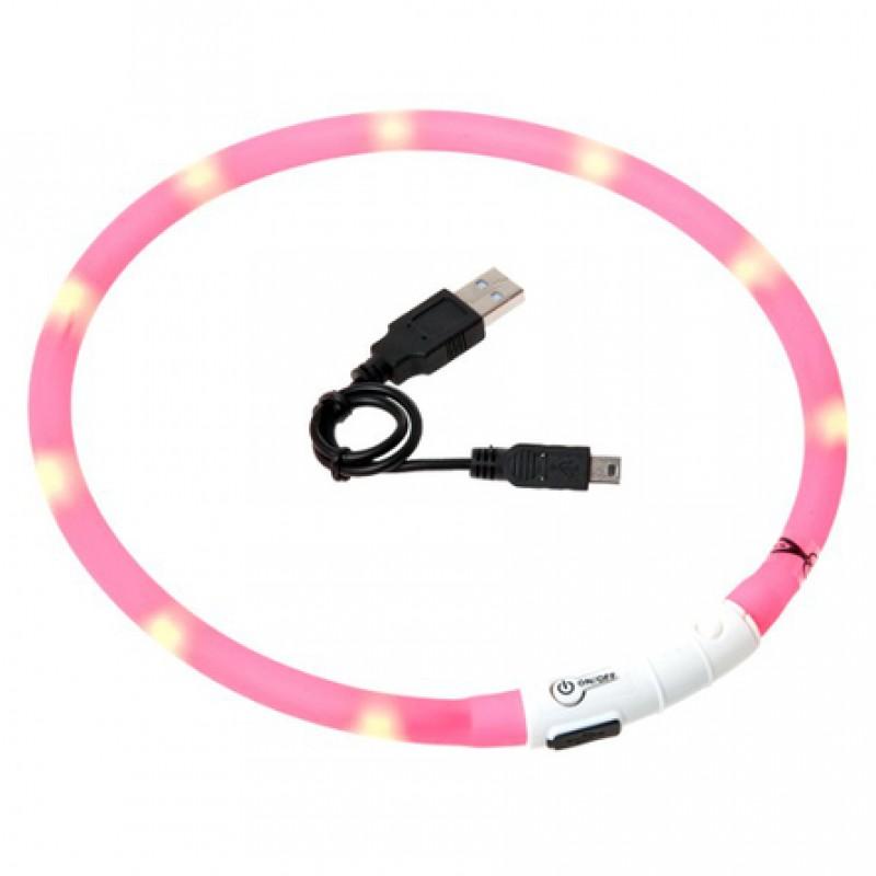 Flamingo Ошейник с LED подсветкой 70 см розовый