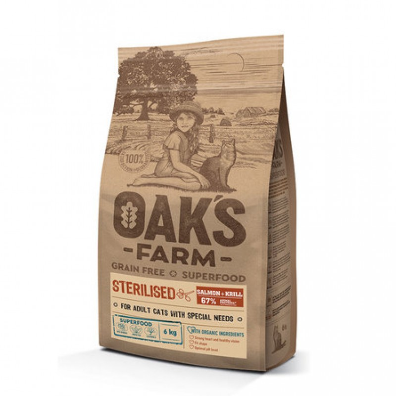Oaks Farm Grain Free Sterilised Adult Cat беззерновой сухой корм для кастрированных/стерилизованных кошек, (лосось и криль), 6 кг