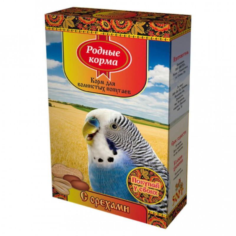 Родные Корма Корм для волнистых попугаев (с орехами), 500 гр