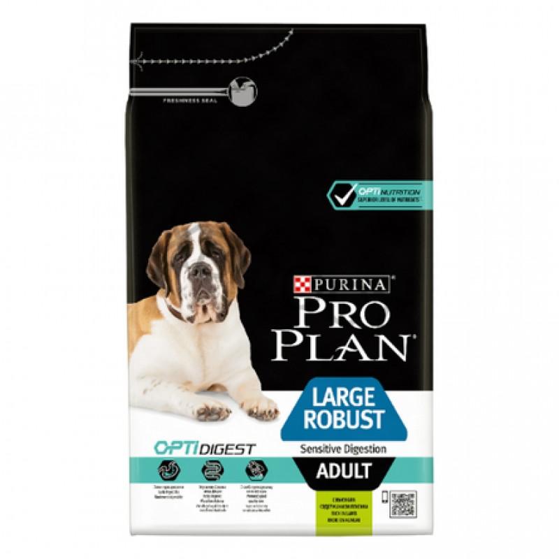 Pro Plan OptiDigest Large Robust Adult Сухой корм для взрослых собак крупных пород с мощным телосложением с чувствительным пищеварением (с ягненком и рисом), 3 кг