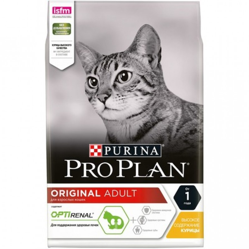 Pro Plan Adult Сухой корм для взрослых кошек (с курицей), 3 кг