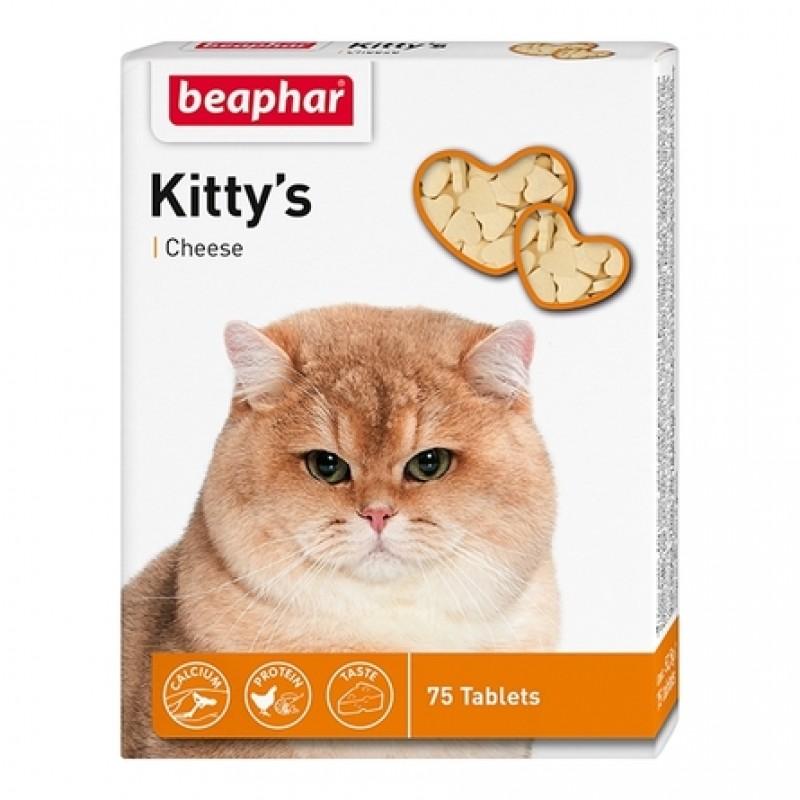 Beaphar Kitty's + Cheese Витаминизированное лакомство для кошек (с сыром), 75 таблеток