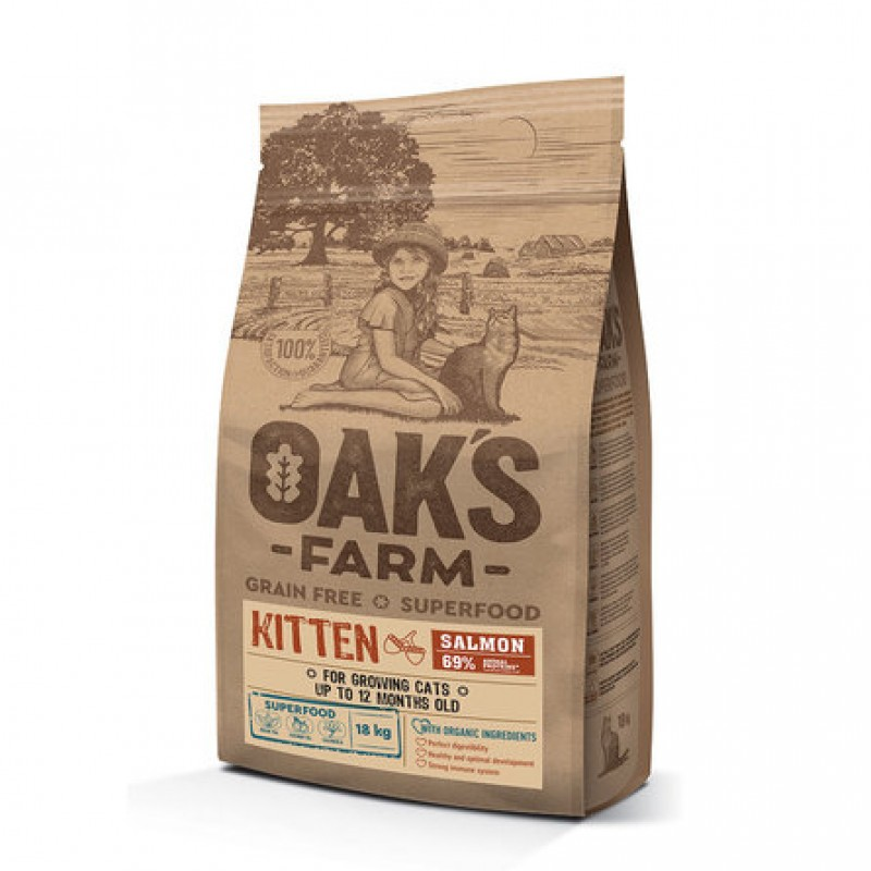 Oaks Farm Grain Free Kitten беззерновой сухой корм для котят, (лосось), 18 кг