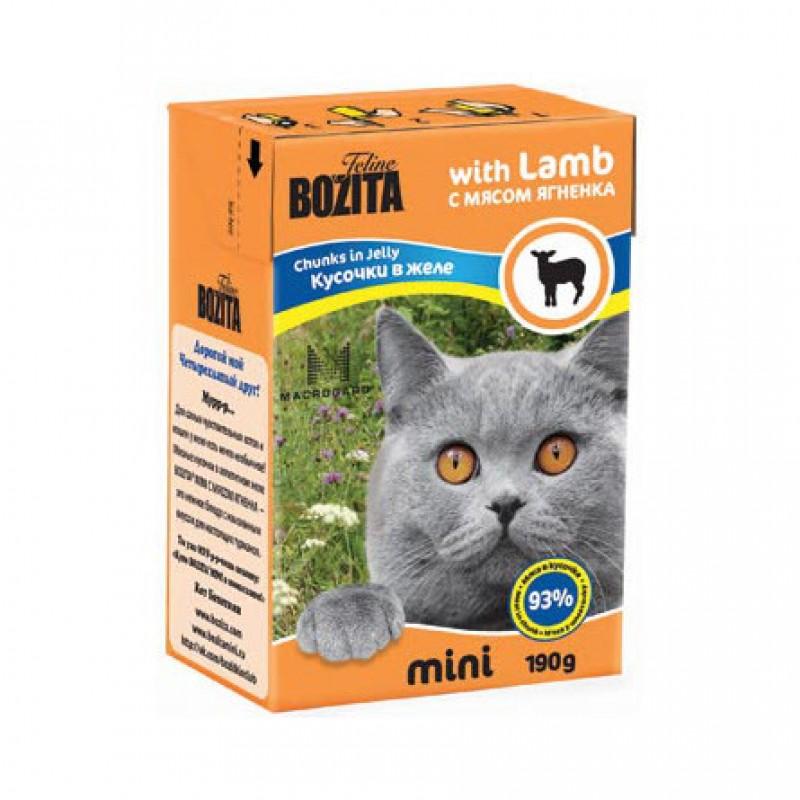 Bozita Mini Кусочки паштета в желе для взрослых кошек (с ягненком), 190 гр