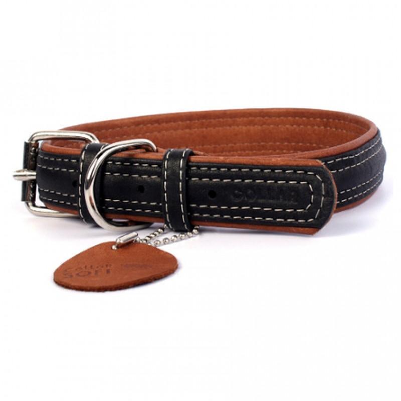 CoLLaR SOFT Ошейник для собак черный верх, ширина 2,5 см, длина 38-49 см