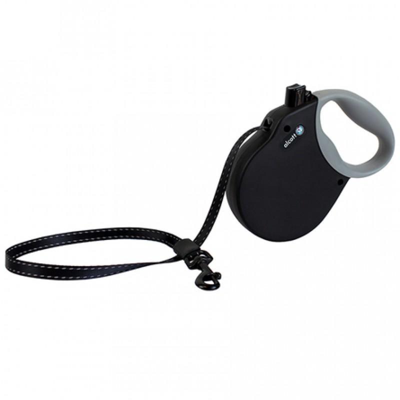 Alcott Adventure L Поводок-рулетка для собак до 50 кг, лента, черная