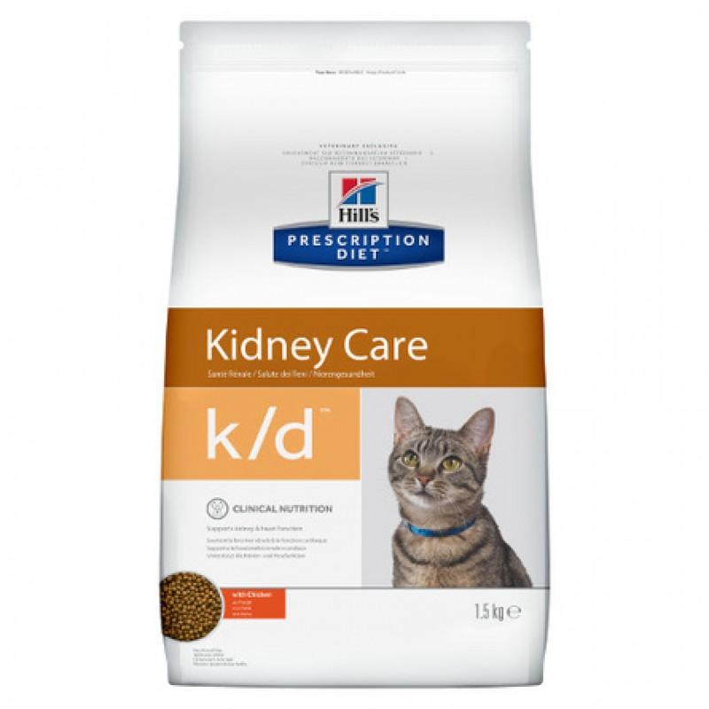 Hill's Prescription Diet k/d Kidney Care Сухой лечебный корм для кошек при заболеваниях почек (с курицей), 1,5 кг