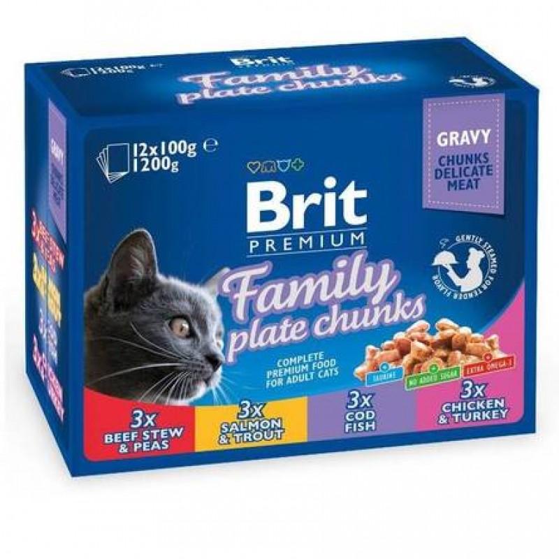 Brit Premium Family Plate Jelly Набор паучей для кошек
