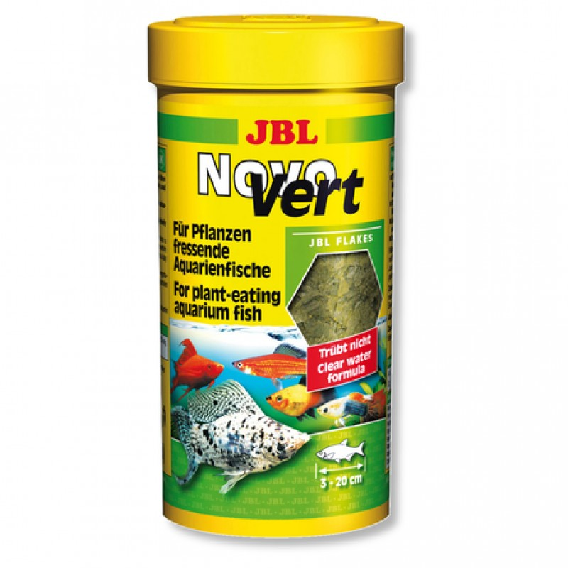 JBL NovoVert Основной корм для растительноядных аквариумных рыб, хлопья, 100 мл