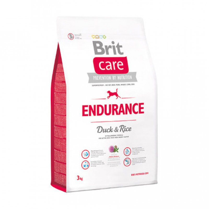 Brit Care Endurance Сухой корм для активных собак всех пород (с уткой), 3 кг