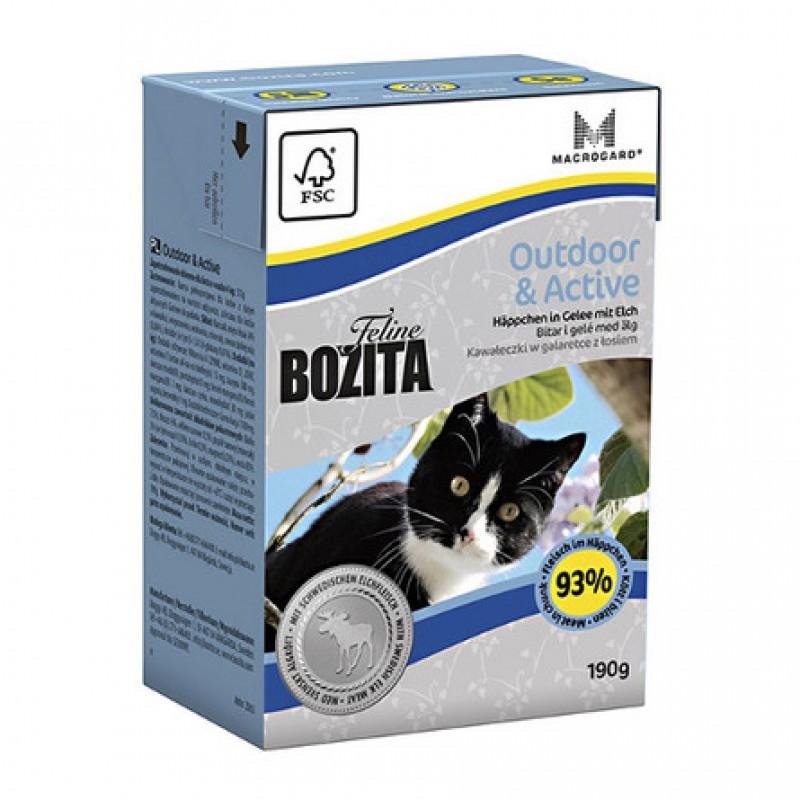 Bozita Feline Funktion Outdoor And Active Кусочки паштета в соусе для взрослых кошек (с курицей), 190 гр
