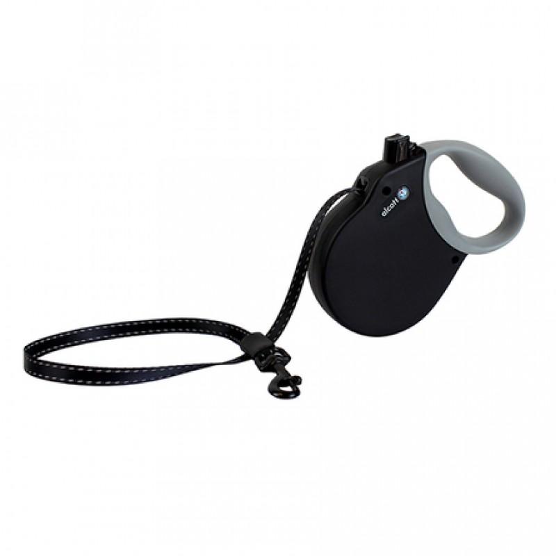 Alcott Adventure M Поводок-рулетка для собак до 30 кг, лента, черная