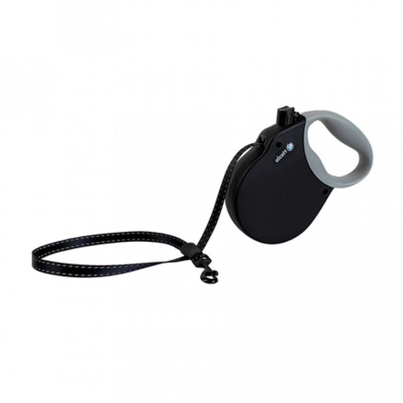 Alcott Adventure S Поводок-рулетка для собак до 20 кг, лента, черная