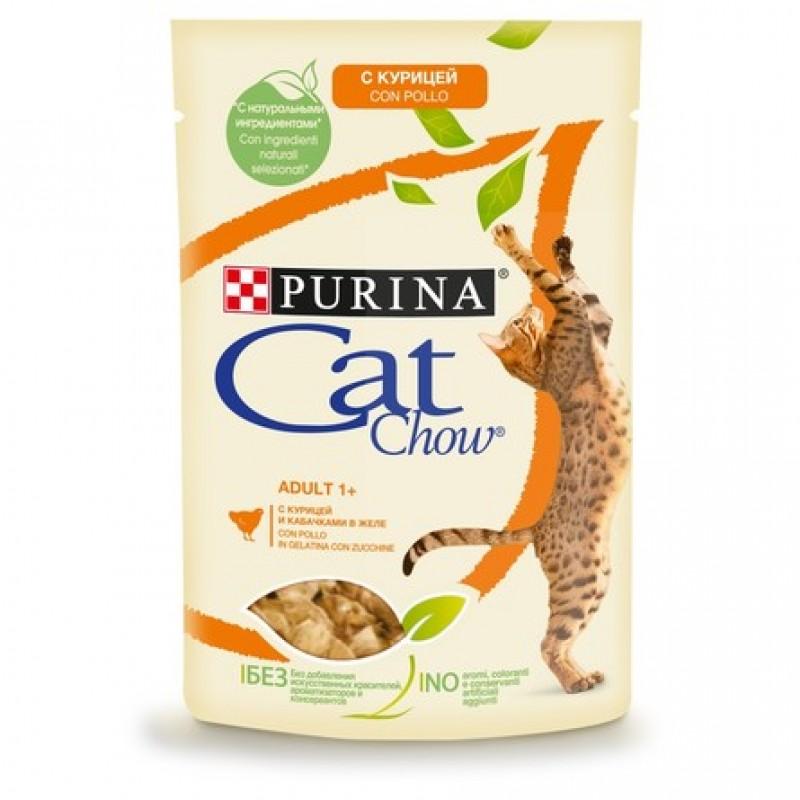Cat Chow Кусочки паштета в желе для взрослых кошек (с курицей и кабачком), 85 гр
